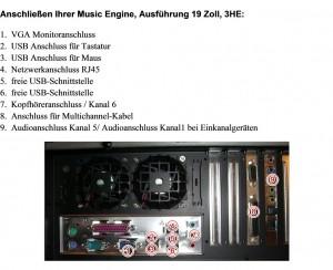 Richtiges anschließen der Kabel - Music Engine 19 Zoll-PC 3HE